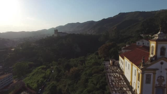flying over the beautiful city of ouro preto in minas gerais, brazil - preto stock videos & royalty-free footage