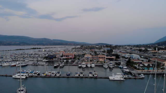 flying over the boats in marina - tranquillising stock videos & royalty-free footage