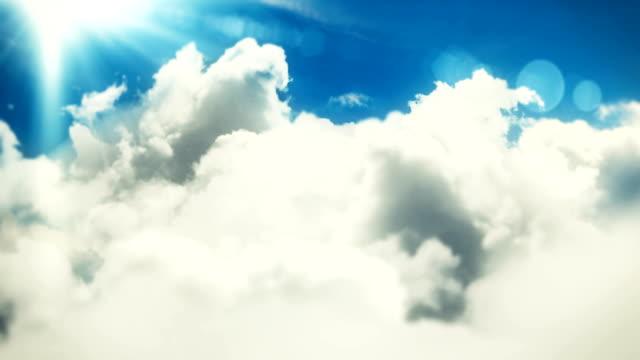 fliegen über die wolken mit sonne und linsenflares loopable cloudscape hintergrundanimation - gott stock-videos und b-roll-filmmaterial