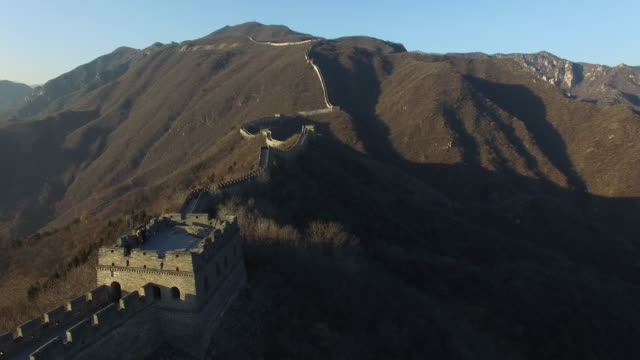 flying over the mutianyu great wall in beijing,china - mutianyu stock videos & royalty-free footage