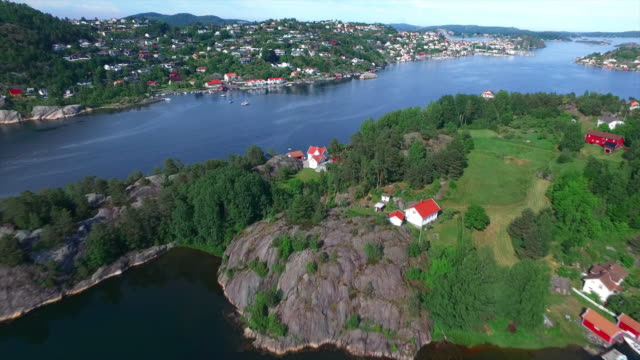flying over the pearl of the coast, kragero, norway - telemark stock videos and b-roll footage
