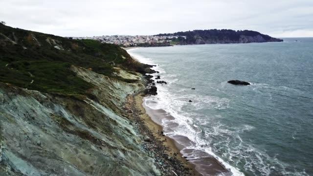 flying over the san francisco coastline - coastline stock videos & royalty-free footage