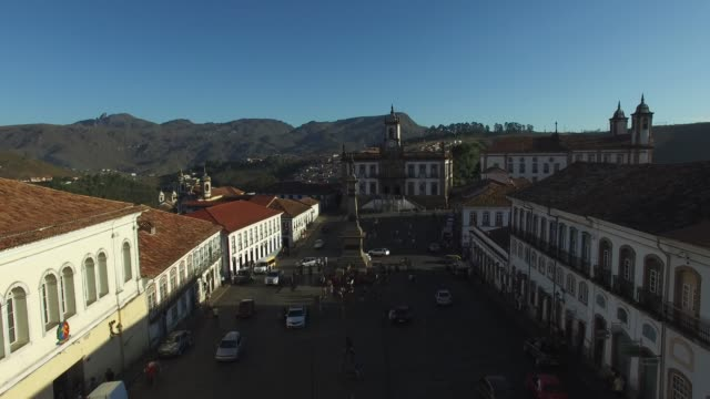 flying over tiradentes square in ouro preto, minas gerais, brazil - colonial stock videos & royalty-free footage