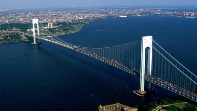 Flying over Verrazano-Narrows Bridge in New York. Shot in 2003.