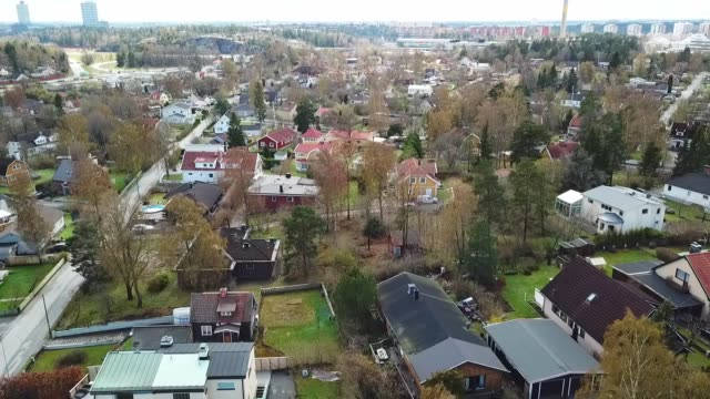 flying over villa area - svezia video stock e b–roll
