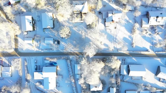 flying over villa area, winter day - snow stock videos & royalty-free footage