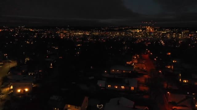 flying over villa area, winter night - district stock videos & royalty-free footage