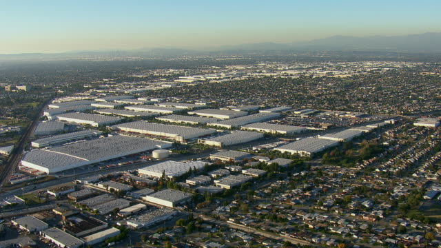 Flying Over Warehouses In LA County