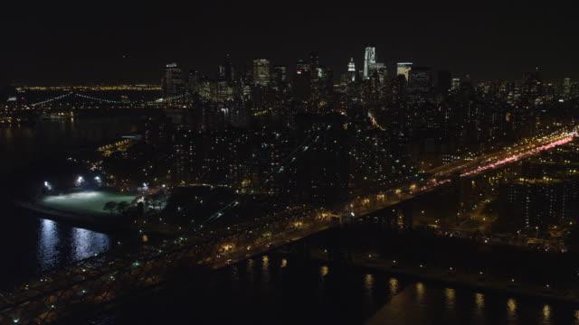 Flying over Williamsburg Bridge toward Manhattan Financial District. Shot in 2011.