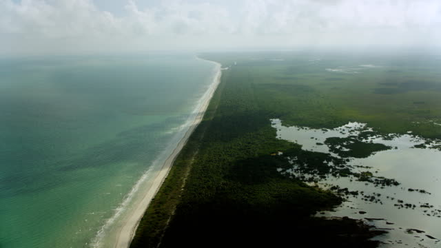 flying over yucatan peninsula coastline - gulf of mexico stock videos & royalty-free footage