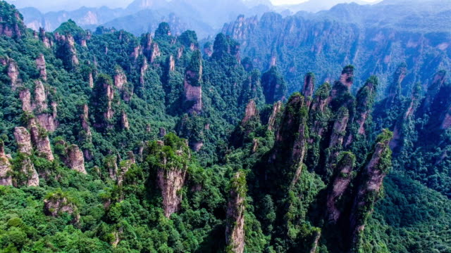 Flying over Zhangjiajie national forest park in China