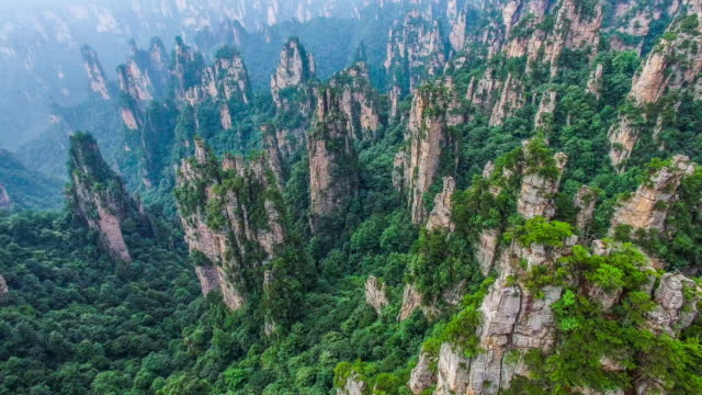 Flying over Zhangjiajie national park in China