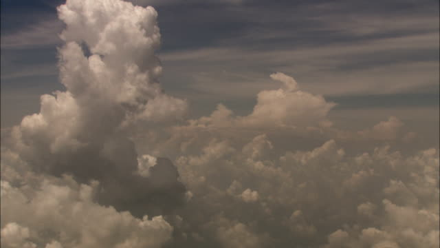 Flying past fluffy cumulus clouds high in a sunny sky. Available in HD.