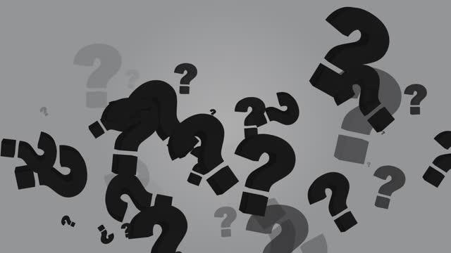 vídeos de stock e filmes b-roll de 4k flying question mark abstract loopable animation, gray color background - perguntar
