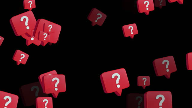 4k flying question mark speech bubble abstract loopable animation, black color background - group of objects stock videos & royalty-free footage