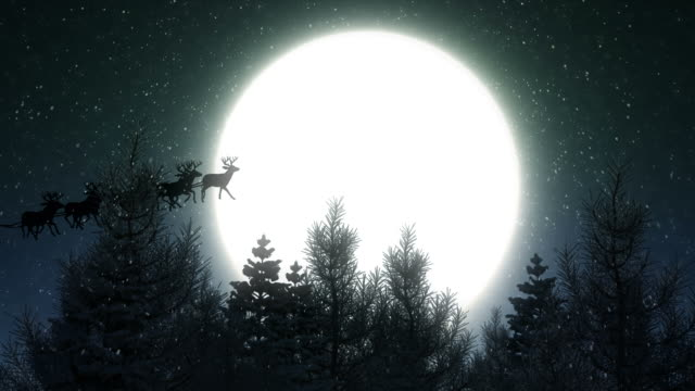 stockvideo's en b-roll-footage met flying santa claus on christmas night - kerstmis