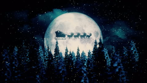 flying santa claus on christmas night - holiday event stock videos & royalty-free footage