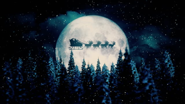 flying santa claus on christmas night - christmas stock videos & royalty-free footage
