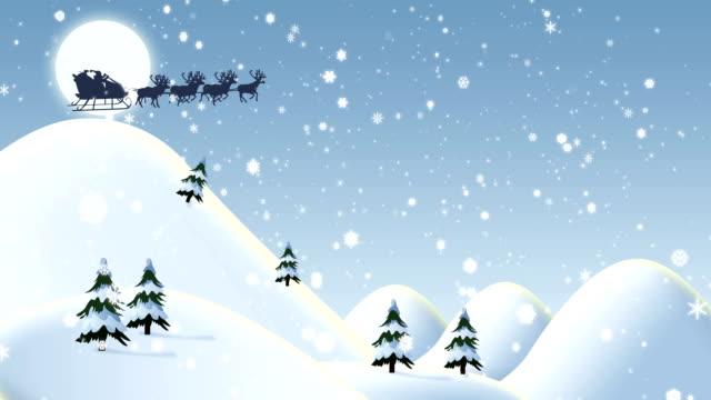 vídeos de stock, filmes e b-roll de papai noel voando com merry christmas texto 3d - snow cornice