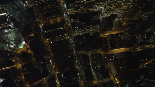 Flying south over New York Financial District at night, looking straight down. Shot in 2011.