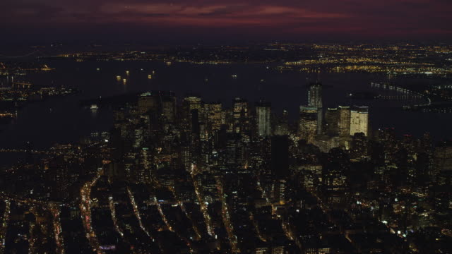 Flying south toward the Financial District in Lower Manhattan at night. Shot in November 2011.