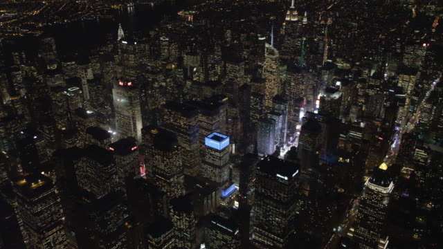 Flying southeast across Times Square and Midtown Manhattan at night. Shot in 2011.