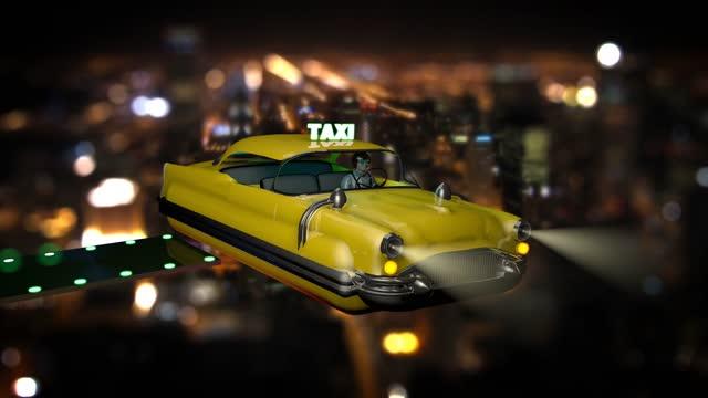 vídeos de stock e filmes b-roll de flying taxi - yellow taxi