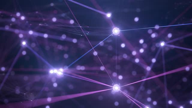 flying through a complex digital network - technology, big data, artificial intelligence - multi colored, purple, blue - plexus stock videos & royalty-free footage