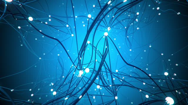 flying through a complex network (blue) - loop - human nervous system stock videos & royalty-free footage