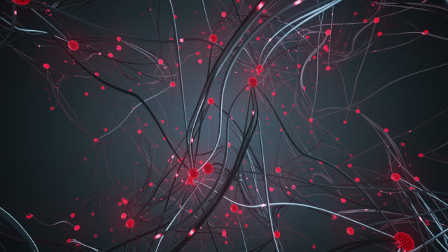 flying through a complex network (red) - loop - computazione quantistica video stock e b–roll