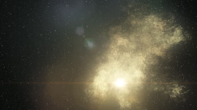 Flying through a luminous white gas cloud into starry space