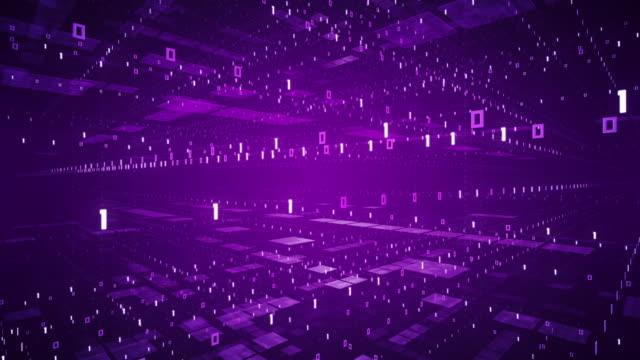 flying through binary code - lila, loopable animation - computer-software, künstliche intelligenz, big data - maschinelles lernen stock-videos und b-roll-filmmaterial