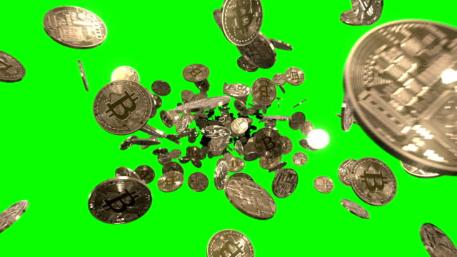 flying through bitcoins on green - bitcoin stock videos & royalty-free footage