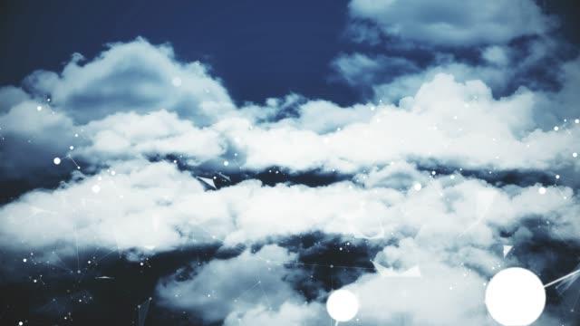 fliegen durch wolken mit netzanschlüssen (loopable) - plexus stock-videos und b-roll-filmmaterial