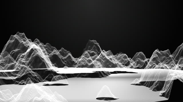 Flying through digital wireframe mountain on dark background, Technology concept
