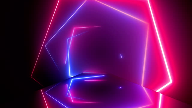 vídeos de stock e filmes b-roll de flying through glowing rotating neon squares creating a tunnel, blue red pink spectrum, fluorescent ultraviolet light, modern colorful lighting, loopable 4k animation - animação