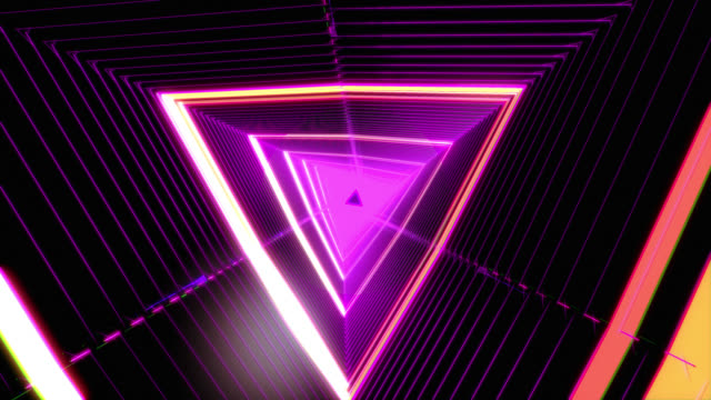 flying through in an abstract glowing tunnel - triangle shape stock videos & royalty-free footage