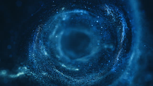 fliegen durch bewegliche partikel - tunnel, spirale, abstrakte hintergrund - dunkelblau, wasser - lightweight stock-videos und b-roll-filmmaterial