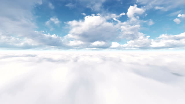 vídeos de stock e filmes b-roll de flying through the clouds (loopable) - paisagem com nuvens