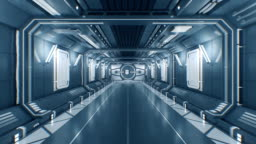 Flying Through the Futuristic Construction Tunnel with Opening Metal Gates and Moving Out to White Light. Abstract Science Fiction 3d Animation with Alpha Matte.