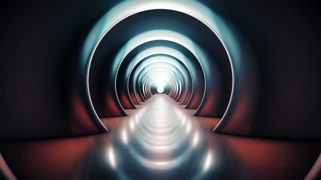fliegen durch den futuristischen tunnel. abstrakte 3d-animation. das konzept der beleuchteten korridor, innenarchitektur, raumschiff, wissenschaft, labor, technologie, wissenschaft, architektur, industrie - museum stock-videos und b-roll-filmmaterial