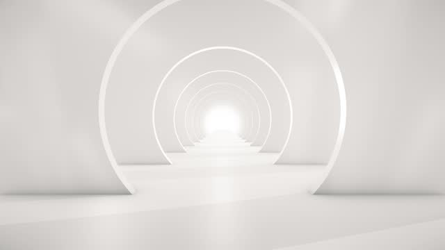 vídeos de stock e filmes b-roll de flying through the futuristic white tunnel. abstract 3d animation. the concept of illuminated corridor, interior design, spaceship, science, lab, technology, science, architecture, industry - espaço vazio