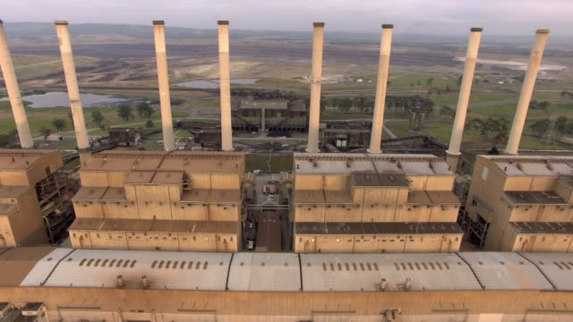 flying through the hazelwood power station in the latrobe valley, victoria. - coal fired power station stock videos and b-roll footage
