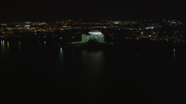 Flying toward and past the Jefferson Memorial at night, Washington DC. Shot in 2011.