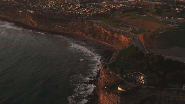 flying toward pacific palisades, california, in evening light. shot in 2010. - artbeats stock videos & royalty-free footage
