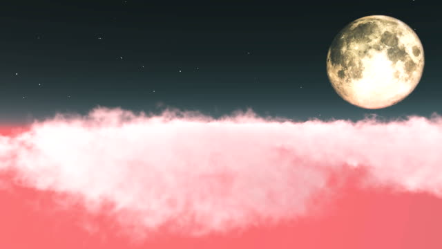 flying towards the moon over pink clouds - pink color stock videos & royalty-free footage