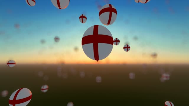 flying up balloons with england flags - politics illustration stock videos & royalty-free footage