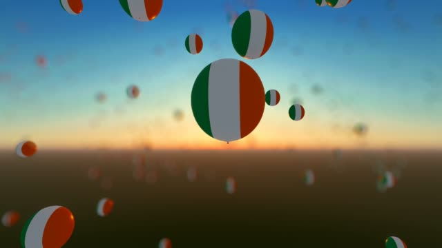 flying up balloons with ireland flags - politics illustration stock videos & royalty-free footage