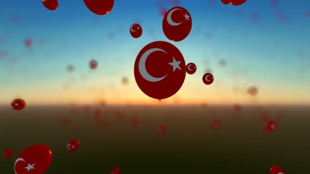 flying up balloons with turkey flags - politics abstract stock videos & royalty-free footage