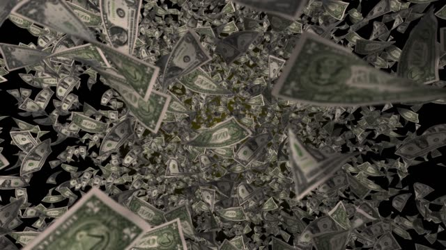 stockvideo's en b-roll-footage met 4k flying us dollar valuta slow motion, top view - dollarteken